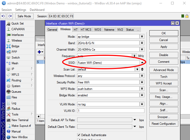 Change an SSID in Winbox